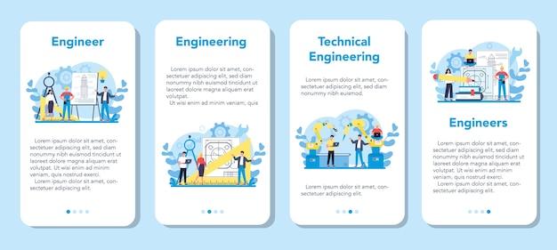 エンジニアリングモバイルアプリケーションバナーセット。テクノロジーと科学。機械や構造物への専門的な職業と建設。建築の仕事やデザイナー。