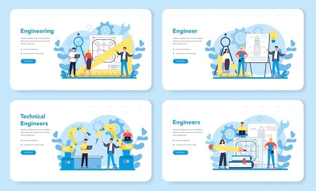 エンジニアリングwebバナーまたはランディングページセット。テクノロジーと科学。機械や構造物への専門的な職業と建設。建築の仕事かそれ以上。