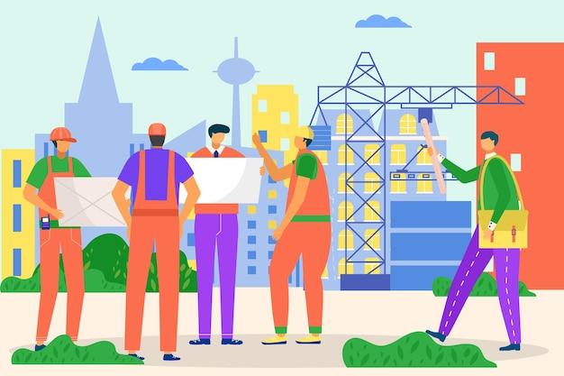 엔지니어, 건축가 사람들은 건설, 벡터 일러스트레이션에서 일합니다. 건물을 위한 전문 엔지니어링 작업, 남자 작업자 캐릭터는 건축업자, 계약자와 프로젝트에 대해 논의합니다. 도시 건축 사이트입니다.