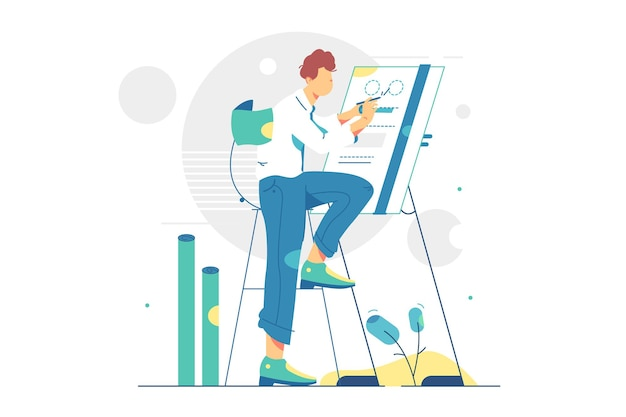 Engineer architect working at drawing board illustration
