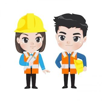 エンジニアの男の子と女の子がキュートでスマート。
