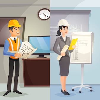 Engineer cartoon vertical banners