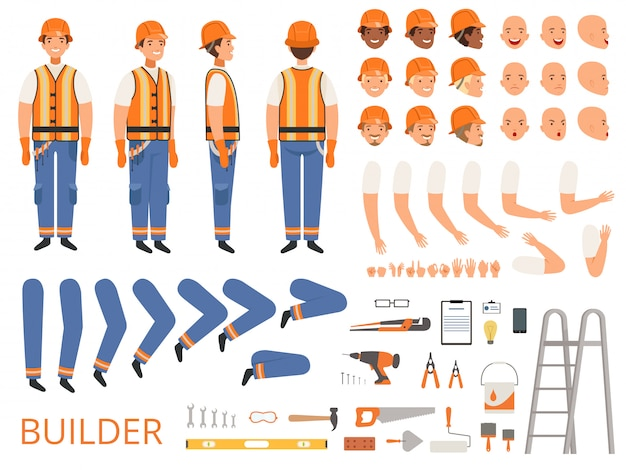 Engineer character animation. body parts and specific tools of builder constructor with head body arms hands