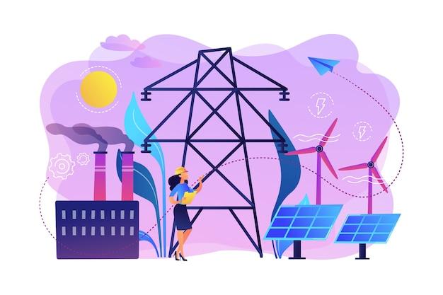 ソーラーパネルと風力タービンを備えた発電所を選択するエンジニア。代替エネルギー、グリーンエネルギー技術、環境に優しいエネルギー学の概念。
