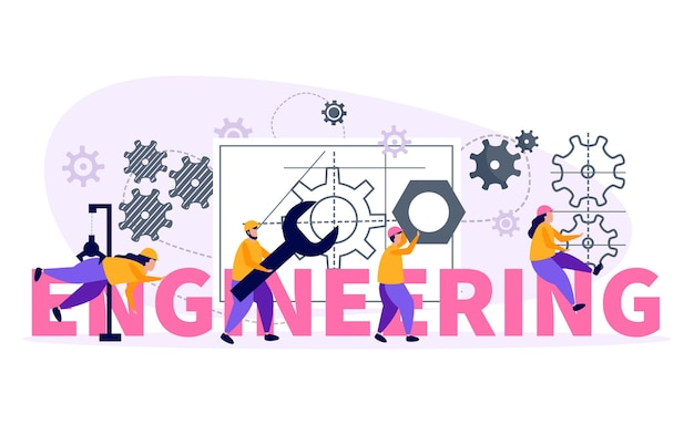 機器と作業記号フラットイラストとエンジニアの概念図
