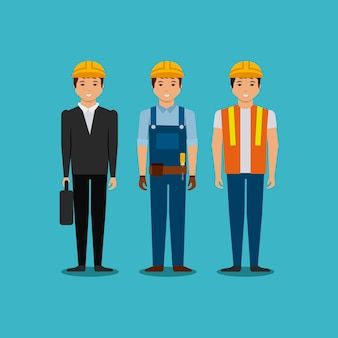 Engineer and construction workers cartoon icon