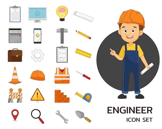 Инженер, строящий промышленные концепции плоских иконок