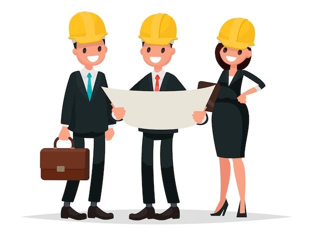 엔지니어 고객과 계약자가 프로젝트에 대해 논의하고 있습니다. 플랫 스타일의 벡터 일러스트 레이션