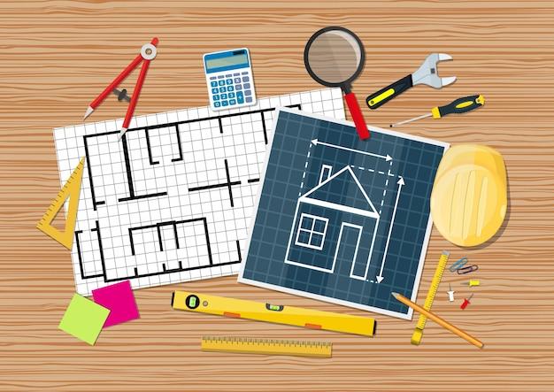 Engineer desk. blueprint with tools