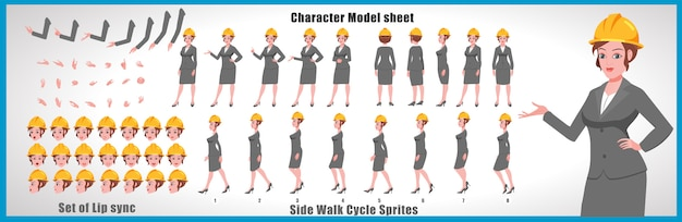 Engineer girl character model sheet with walk cycle animations and lip syncing