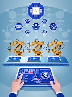 Engineer hand using tablet, heavy automation robot arm machine in smart factory. artificial intelligence industry 4th iot concept.