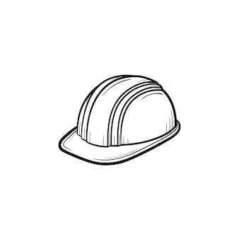엔지니어 헬멧 손으로 그려진된 개요 낙서 아이콘입니다. 흰색 배경에 고립 된 인쇄, 웹, 모바일 및 infographics에 대 한 하드 모자 벡터 스케치 그림. 제조 및 건설 개념입니다.