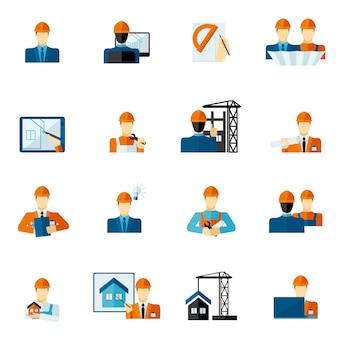 Engineer icons flat