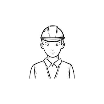 Инженер в каске рисованной наброски каракули значок. строитель в каске для безопасной работы векторные иллюстрации эскиз для печати, интернета, мобильных устройств и инфографики, изолированные на белом фоне.
