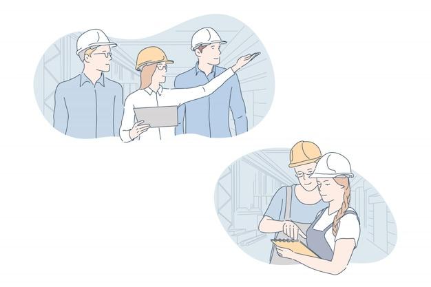 엔지니어, 산업, 건물, 팀워크 세트 개념