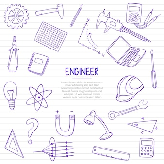Engineer job or jobs profession doodle hand drawn with outline style on paper books line vector illustration