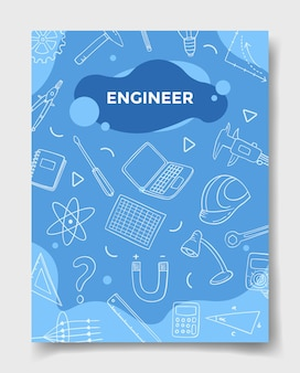 Engineer jobs career with doodle style for template of banners flyer books and magazine