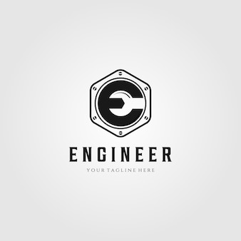 Engineer letter e logo wrench symbol illustration design