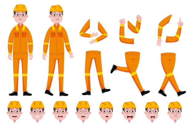 Engineer man character creation set