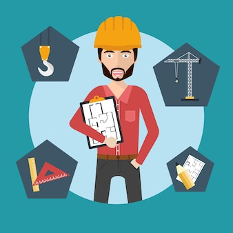 Engineer man with icons
