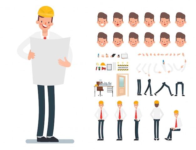 Engineer mechanic technician people industry character.