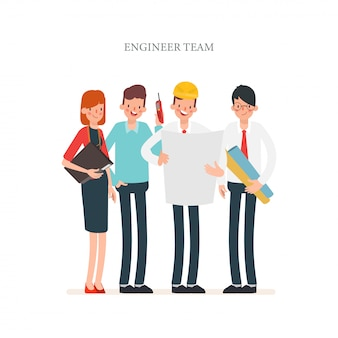 Engineer and mechanics and technician industry character.