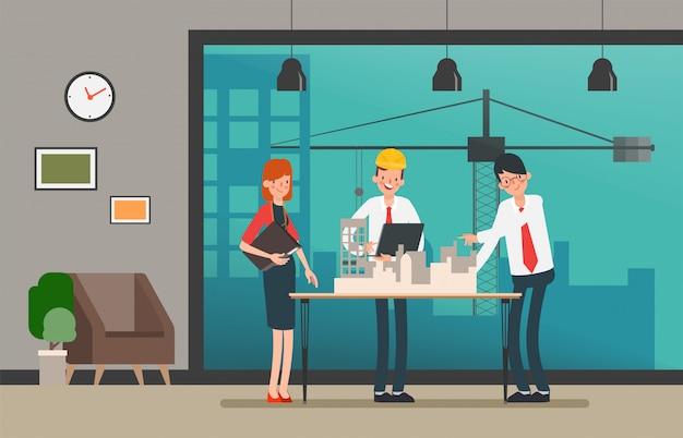 Engineer people teamwork industry character.