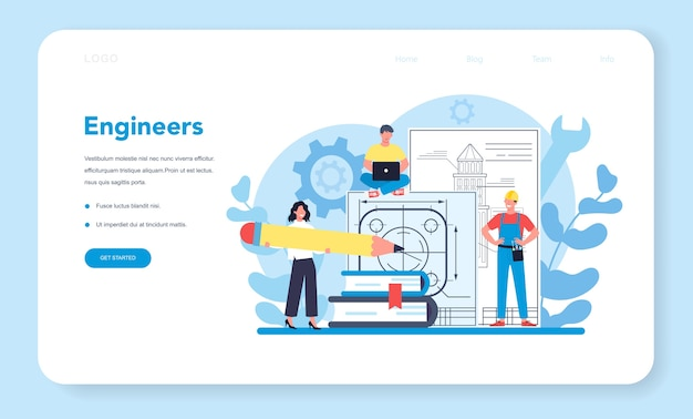 Engineer web banner or landing page