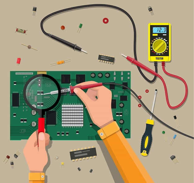 Engineer with multimeter checks motherboard