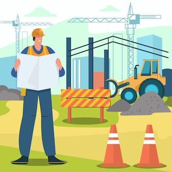 エンジニアリングと建設のイラスト 無料ベクター