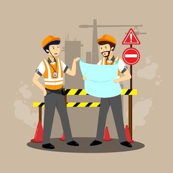 Инженерные персонажи в плоском дизайне