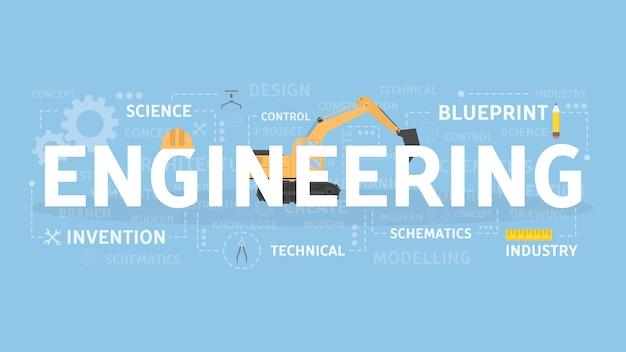 工学の概念図。技術、科学、産業のアイデア。
