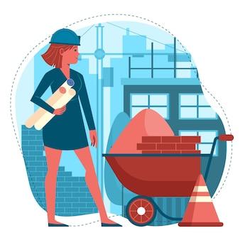 Illustrazione di ingegneria e costruzione