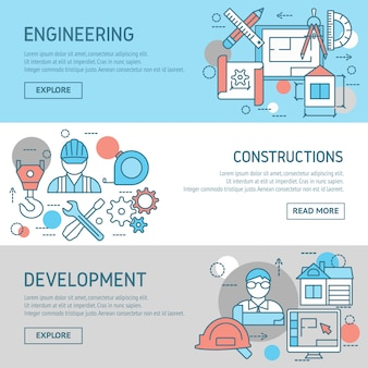 Engineering and constructions banners set