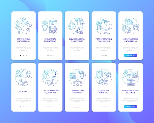 Engineering expertise onboarding mobile app page screen with concept set illustrations