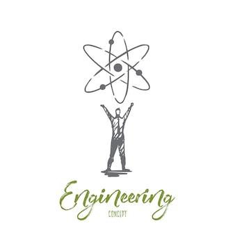 엔지니어링, 장비, 산업, 기술, 작업자 개념. 손으로 그린 된 엔지니어 및 시스템 기호 개념 스케치.