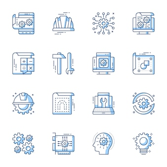 Engineering and machinery linear vector icons set.