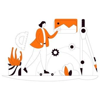 Engineering subject flat style illustration kit