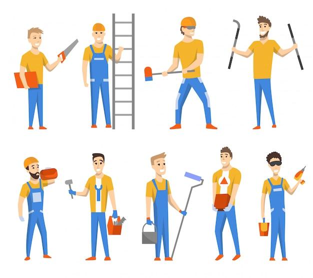 건축을위한 엔지니어와 디자이너. 고립 된 문자 집합입니다. 유니폼을 입고 다른 도구를 사용하는 남자