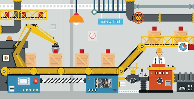 엔지니어가 산업 기계 생산을 제어하고 있습니다.