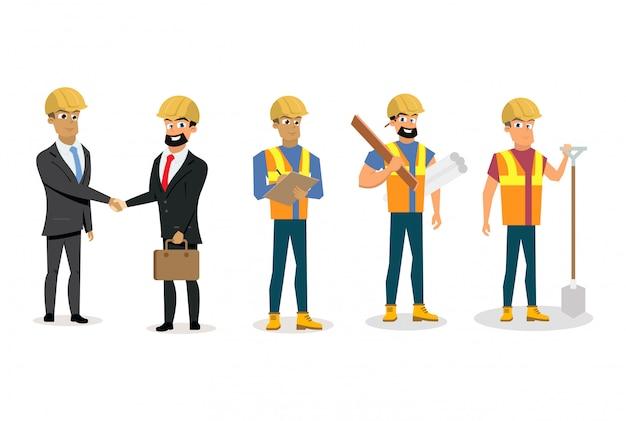 Engineers and builders isolated white background