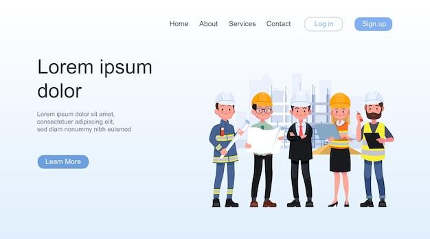 土木建設労働者の建築家と測量士の孤立したベクトルイラストで設定されたエンジニアの漫画