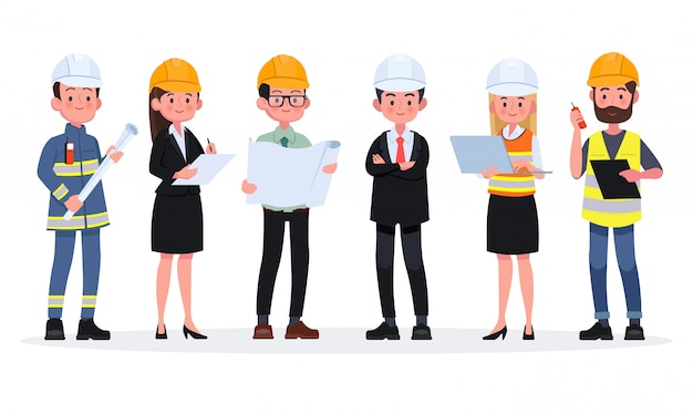 Engineers cartoon set with civil engineering construction workers architect and surveyor illustration