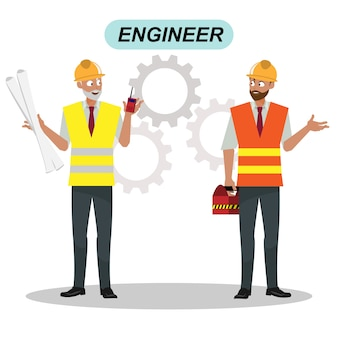 Engineers cartoon set workers architect and surveyor Group of industrial people characters