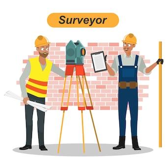 Engineers cartoon set workers architect and surveyor group