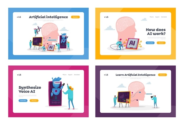 Engineers characters create artificial intelligence landing page template set. robot hardware, software engineering with hi-tech equipment