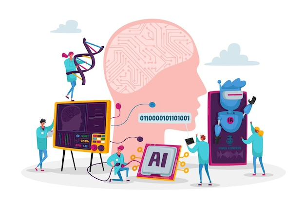 Engineers characters create and programming artificial intelligence. robot hardware, software engineering in laboratory with hi-tech equipment