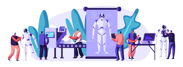 Engineers characters making and programming robots concept illustration