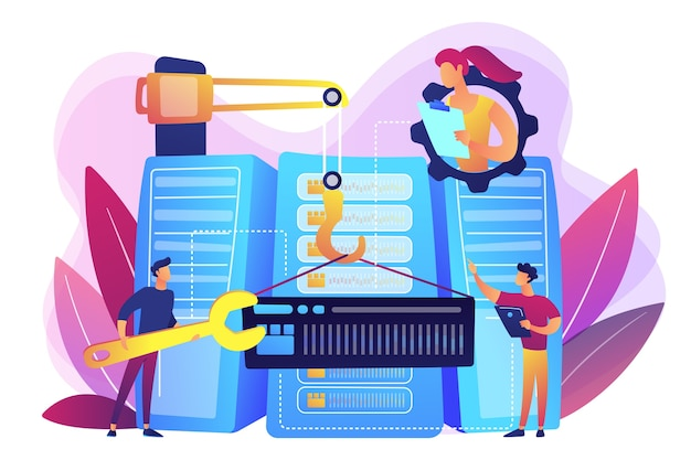 Engineers consolidating and structuring data in the center. big data engineering, massive data operation, big data architecture concept. bright vibrant violet  isolated illustration
