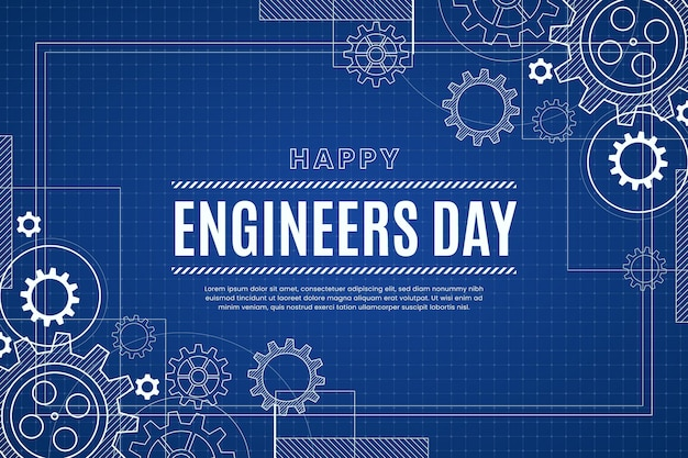 Engineers day background with gear wheels